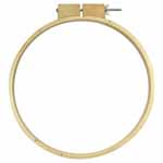 This large round wooden hoop is the perfect size for hand quilting.