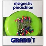"Round plastic magnetic pin holder with 50 colour ball ""Grabbit<sup>TM</sup>"" pins."