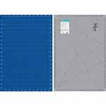 Double-sided mat. Side 1 is a grey mat with lines and black angle markings with imperial measurements.  Side 2 is blue with white lines and metric measurements. Mat: 26″ x 38″ (66 x 97 cm). Grid:  24″ x 36″ (61 x 92 cm)