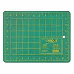 This 9″ x 12″ green, self-healing cutting mat (8″ x 11″ grid) is double sided and offers the convenience of imperial measurements on one side and metric on the other. 3 ply green mat. Double sided - imperial on one side, metric on the other. Protects cutting surface and extends the life of cutting tools. Convenient 30°, 45° and 60° markings on the imperial side of the mat.