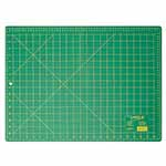 This 18″ x 24″ green, self-healing cutting mat (17″ x 23″ grid) is double sided and offers the convenience of imperial measurements on one side and metric on the other. 3 ply green mat. Double sided - imperial on one side, metric on the other. Protects cutting surface and extends the life of cutting tools. Convenient 30°, 45° and 60° markings on the imperial side of the mat.