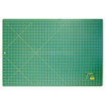 This 24″ x 36″ green, self-healing cutting mat (23″ x 35″ grid) is double sided and offers the convenience of imperial measurements on one side and metric on the other. 3 ply green mat. Double sided - imperial on one side, metric on the other. Protects cutting surface and extends the life of cutting tools. Convenient 30°, 45° and 60° markings on the imperial side of the mat.