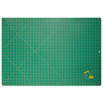Single ply. Double-sided mat includes both imperial and metric on gridded side and a blank cutting surface on the other side. Self-healing. Convenient 45° and 60° markings. Mat: 23 1/2″ x 35 1/2″ (60 x 90 cm). Grid:  23″ x 35″ (58 x 89 cm)